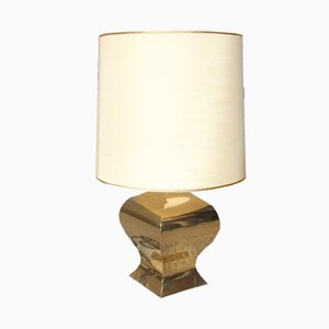 French Brass Shantung Table Lamp, 1970s