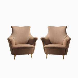 Mid-Century Italian Brown Armchairs from ISA Bergamo, 1950s, Set of 2