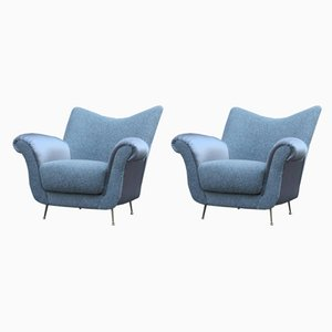 Mid-Century Italian Grey Armchairs, 1950s, Set of 2