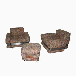 Floral Armchairs and Ottoman Set, 1970s, Set of 3