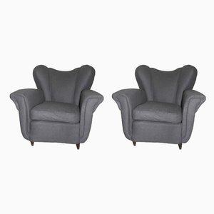 Mid-Century Italian Grey Armchairs, 1940s, Set of 2