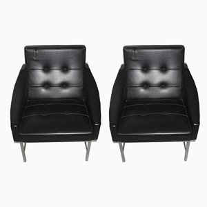 Italian Steel and Faux Leather Armchairs by Pieter De Bruyne for Arflex, 1960s, Set of 2