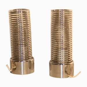 Lámparas de mesa espiral de acero de Targetti Sankey para Guzzini, años 70. Juego de 2