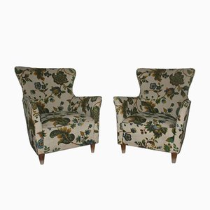 Mid-Century Italian Green Floral Armchairs, 1940s, Set of 2