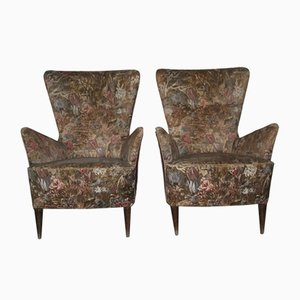 Italienische Mid-Century Sessel mit floralem Muster, 1940er, 2er Set