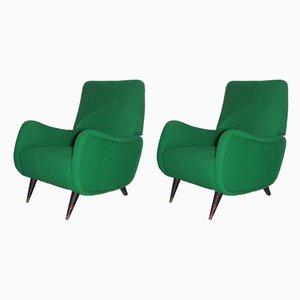Grüne italienische Mid-Century Armlehnsessel, 1950er, 2er Set