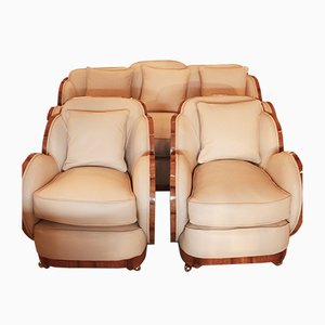 Art Deco Armchairs and Sofa Set, 1930s, Set of 3