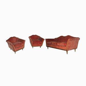 Juego de sofá y butacas italianas Mid-Century, años 50. Juego de 3