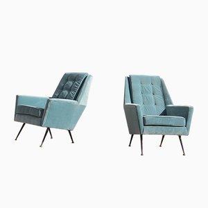 Mid-Century Italian Blue Armchairs, 1950s, Set of 2