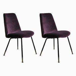 Italienische Esszimmerstühle mit violettem Samtbezug, 1950er, 2er Set