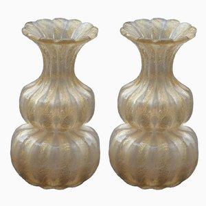 Jarrones italianos Mid-Century de cristal de Murano de Barovier & Toso, años 50. Juego de 2