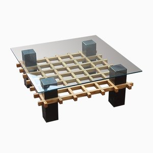 Mid-Century Italian Chestnut and Glass Coffee Table, 1970s