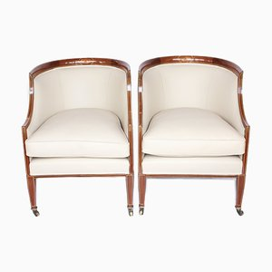 Mahogany and Cream Leather Library Tub Chairs, 1920s, Set of 2