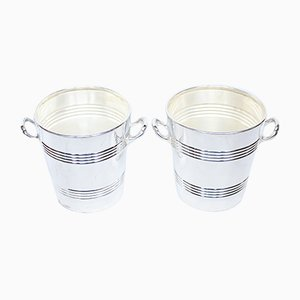 Vintage Silver Plated Champagne Buckets, 1930s, Set of 2