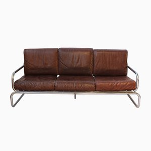 Vintage Leather and Metal Sofa