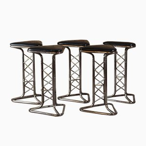 Chrome and Leather Bar Stool, 1970s