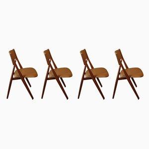 Dänische Esszimmerstühle mit Gestell aus Teak & Lederbezug, 1950er, 4er Set