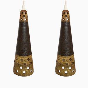 Lámparas colgantes escandinavas de cerámica, años 60. Juego de 2