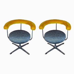 Kvadrat Fabric and Chrome Armchairs, 1970s, Set of 2
