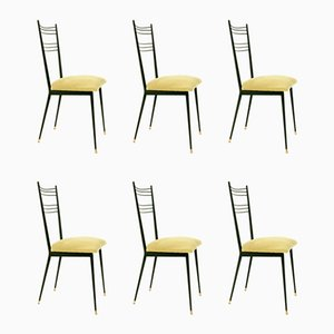Black and Mustard Yellow Side Chairs by Colette Gueden, 1950s, Set of 6