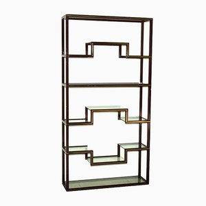 Lacquered Aluminum and Glass Wall Unit by Pierre Vandel, 1970s