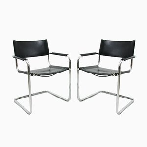 Leather and Chrome Side Chairs, 1980s, Set of 2