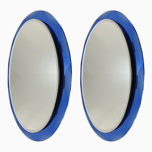 Italian Blue Glass Mirrors from Metalvetro Galvorame Siena, 1970s, Set of 2