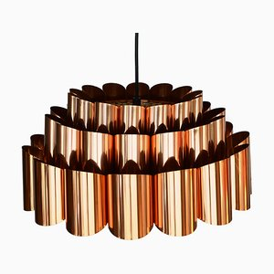Danish Copper Pendant Lamp by Werner Schou for Coronell Elektro, 1960s