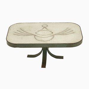 Mesa de centro de piedra blanca y acero, años 60