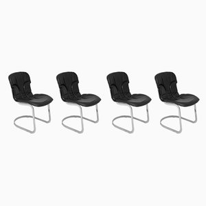 Chromed Metal and Leather Side Chairs by Willy Rizzo, 1960s, Set of 4