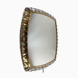 Brass and Crystal Glass Illuminated Mirror from Palwa, 1970s