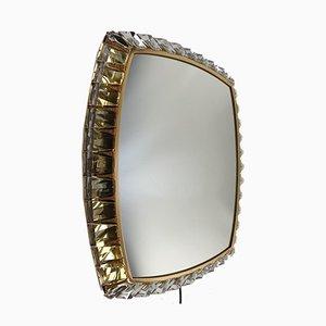 Specchio in vetro e ottone con luce di Palwa, anni '70