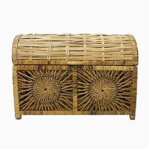 Mid-Century Kiste aus Holz & Rattan, 1960er