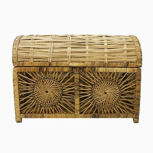 Mid-Century Wooden and Rattan Box, 1960s