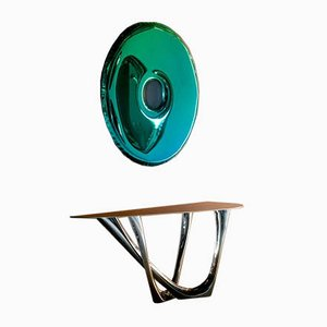 Two Coloured Rondo 120 Decorative Wall Mirror by Zieta
