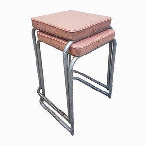Industrielle Vintage Esszimmerstühle mit Stahlrohrgestell, 1970er, 2er Set