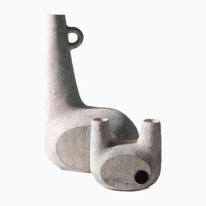 Jarrones esculpidos de cerámica de Victoria Yakusha. Juego de 2