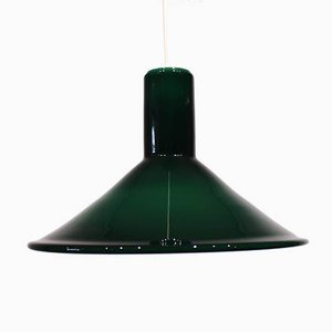 Dark Green Glass Pendant Lamp by Michael Bang for Holmegaard, 1960s