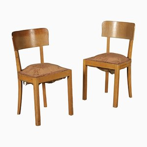 Vintage Italian Beech Side Chairs, 1930s, Set of 2