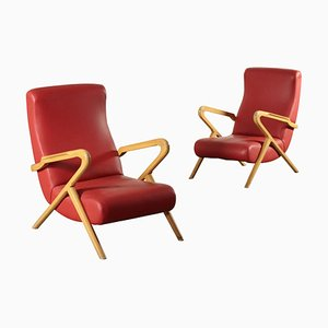 Mid-Century Italian Armchairs, 1950s, Set of x