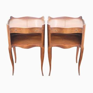 French Oak Nightstands, 1930s, Set of 2