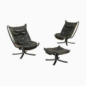Lacquered Wood and Leather Model Viking Lounge Chair and Ottoman Set from Frau, 1980s, Set of 3