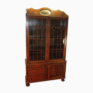 Vintage Oak and Lead Glass Cabinet, 1920s