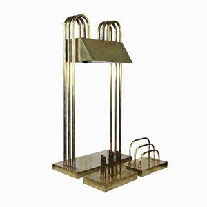 Vintage Art Deco Table Lamp, Pen Holder, and Letter Holder Set by Marcel Breuer