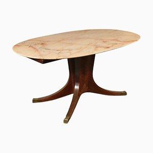 Table d'Appoint Mid-Century en Placage de Palissandre, Marbre et Laiton