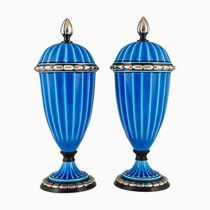 Vases Art Déco en Céramique Bleue et Bronze par Paul Milet pour Sèvres, 1920s, Set de 2