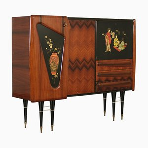 Mid-Century Italian Rosewood Veneer, Brass, and Glass Dresser