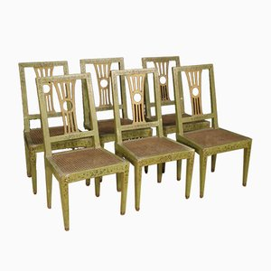 Antique Italian Lacquered Painted and Gilded Chairs, Set of 6