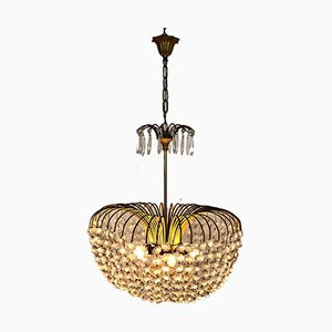 Mid-Century Brass and Glass Ceiling Lamp, 1950s