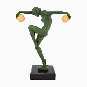 Sculpture de Danseuse Art Déco par Denis pour Max Le Verrier, 1930s